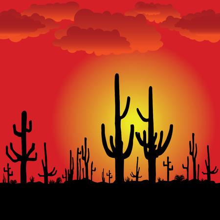 Zonsondergang met Saguaro Cactus. Vector background. Stock Illustratie