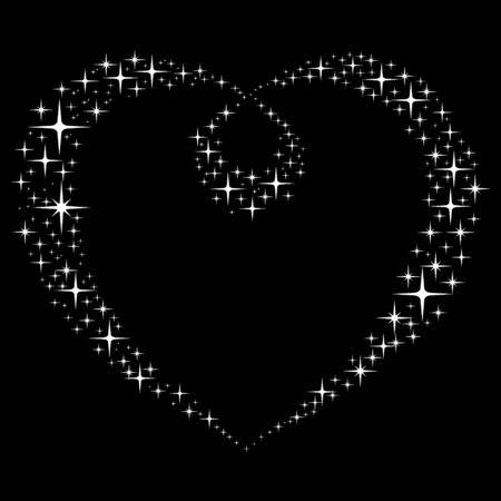 Abstract Stars Heart.  Vector Illustration.