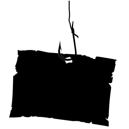 fishinghook: Vintage Paper sheet on hook. Vector illustration. Illustration