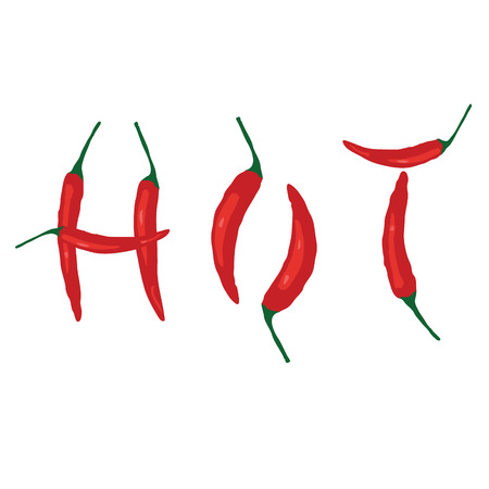 cayenne: Hot chilli. Vector Illustration.