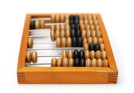 Vintage wooden Abacus isolated on a white