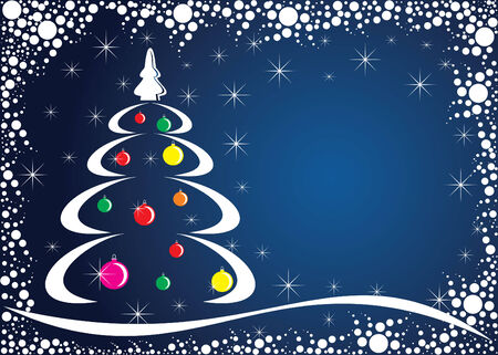 boll: Christmas tree. Colorful vector background.