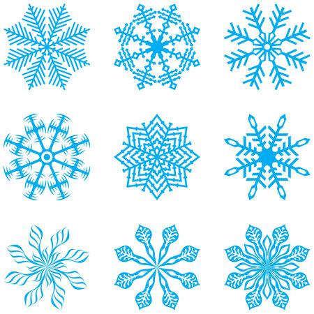Set van zestien sneeuwvlok. Vector illustratie.  Stock Illustratie