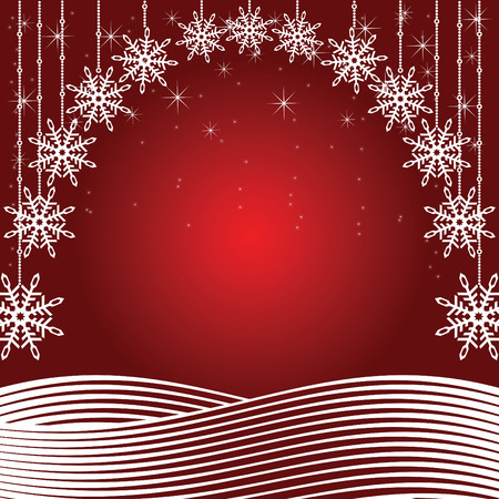 Red Christmas background. Colorful illustration.
