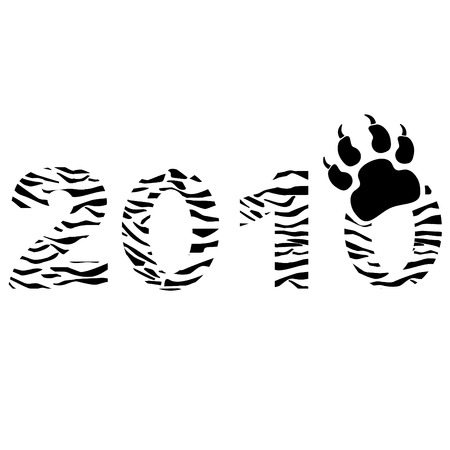 0 1 years: Tiger type New Year sign.
