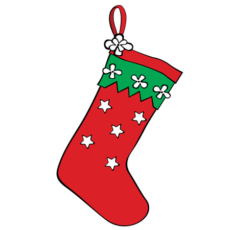 Red christmas stocking for gifts.