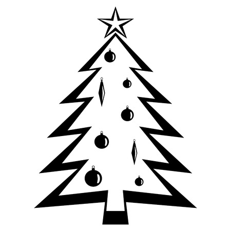 Christmas tree. Black vector Illustration.