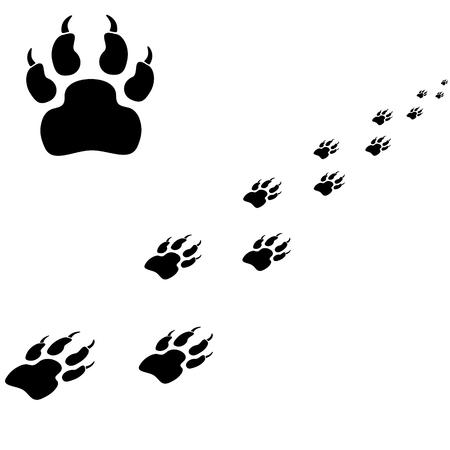 Tiger trace. Zwarte vector illustratie op een witte achtergrond.