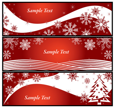 Red background with snowflake and Christmas tree. Colorful vector illustration. Vector