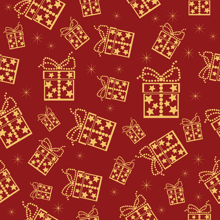 Red seamless background. Vector illustration with lot of present boxes.