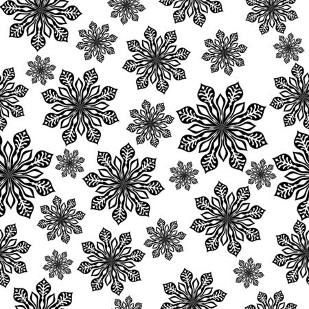 Winter background. Black Vector Illustration with lot of snowflake. Vector