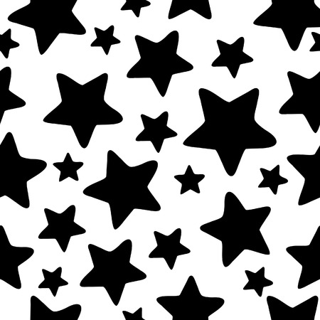 Abstract stars seamless background. Black Vector illustration.
