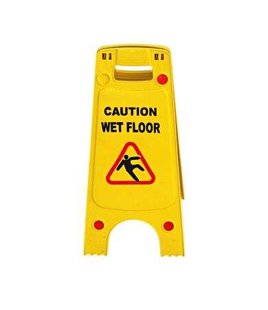 Caution wet floor sign isolated over white background photo