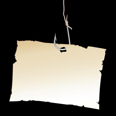 fishinghook: Vintage Paper sheet on fishing hook. Vector illustration.