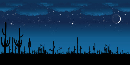 long night: Saguaro Cactus at night. Vector background.