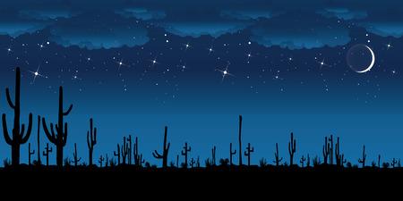 Saguaro Cactus at night. Vector background.