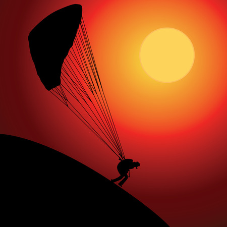 Paraglider over sunset Illustration