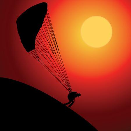 Paraglider over zonsondergang Stock Illustratie