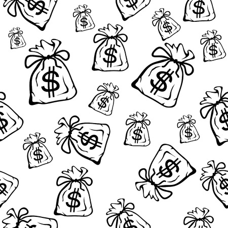 Money bag, black and white seamless background Vector