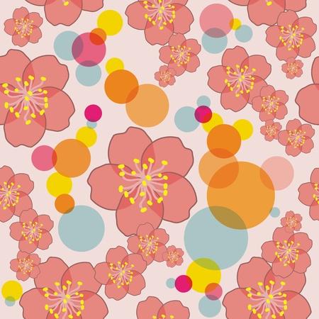 Spring seamless vector background with sakura flowers