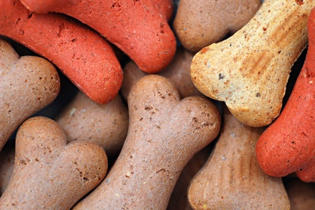Pile of bone biscuits for dog background Stock Photo