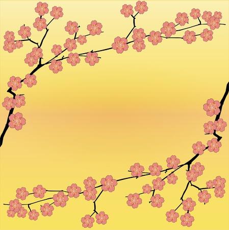 Spring floral vector background with sakura flowers. Illustration