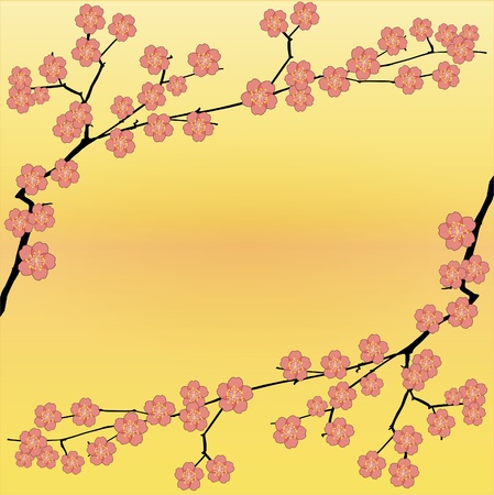 blossoming yellow flower tree: Spring floral vector background with sakura flowers. Illustration