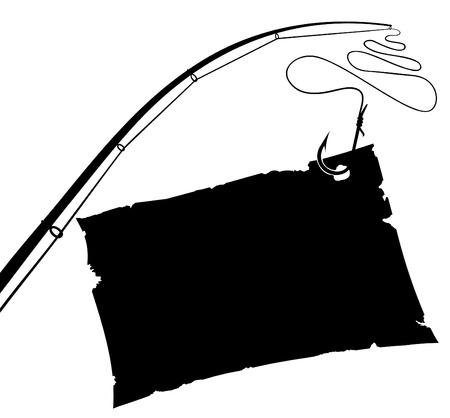 Vintage papier blad op de visserij haak. Zwart-wit vectorillustratie.