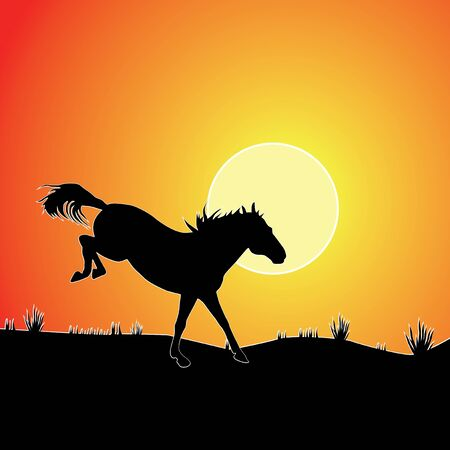 draft horse: Horse against sunset. Colorful vector background.