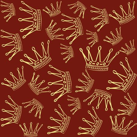 Golden crown over red seamless vector background.