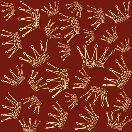 Gouden kroon over rode naadloze vector achtergrond.