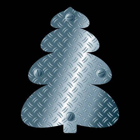 Abstract steel christmas tree. Vector Illustration.