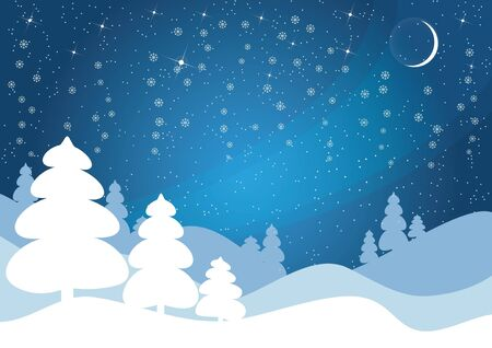 Blue winter vector. Christmas background.