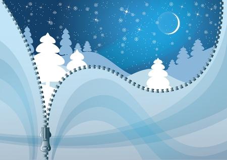 unzipped: Unzipped Winter background. Colorful Christmas background. Illustration