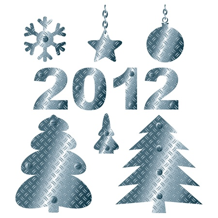 corrugated steel: Set of abstract steel Christmas elements. Corrugated Tree, star, ball.