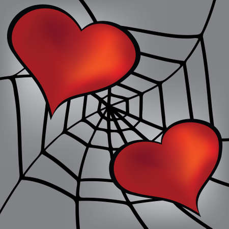 two hearts: Two hearts in the web.