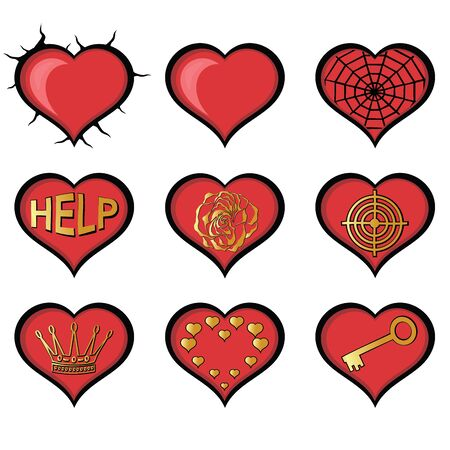 useful: Abstract Hearts. Set of useful Vector Illustrations.