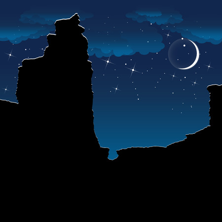 anyon at night. Colorful vector background. Illustration