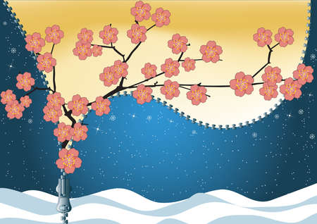replaces: Spring replaces winter. Sakura blossom. Abstract vector background.