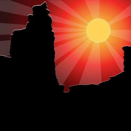 Sunset in the canyon. Colorful vector background. Иллюстрация