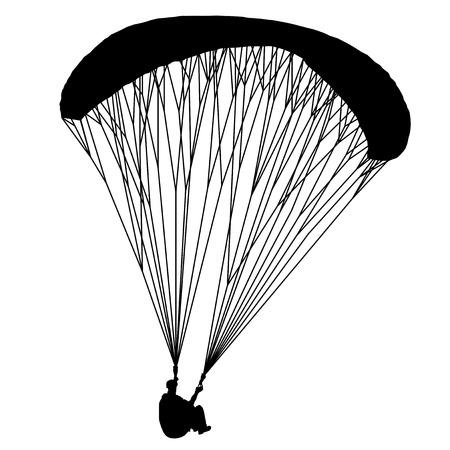 Flying para glider. Useful Black Vector element.