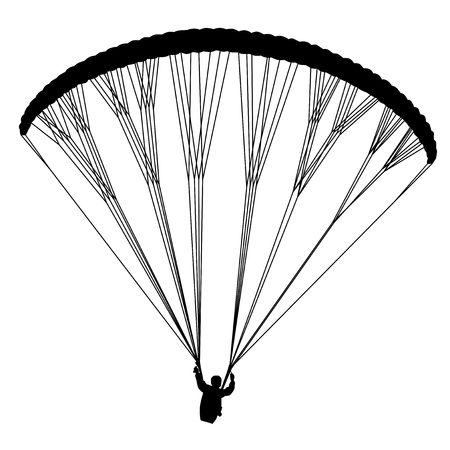 para: Flying para glider. Useful Black Vector element.
