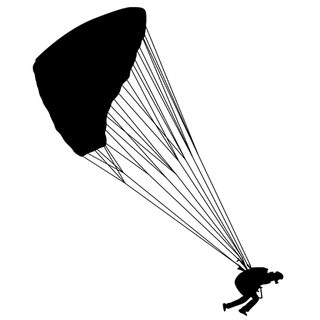 Para glider at the start. Useful Black Vector element.
