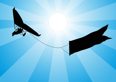 hang gliding: Engine hang-glider with a sign in the sky opposite the sun. Vector background.