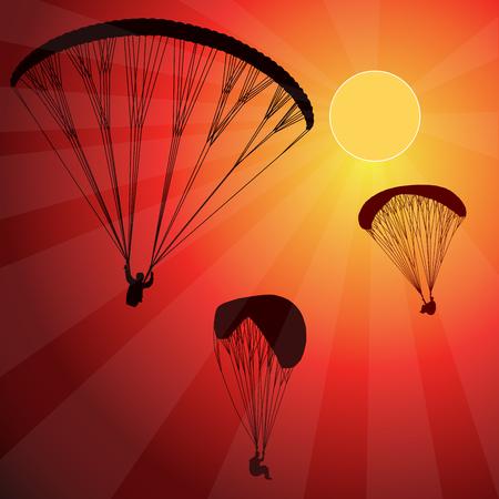 Paraglider in the sky. Sunset. Vector illustration. Ilustração