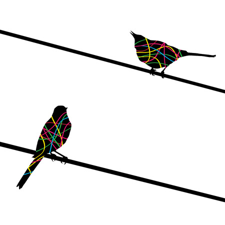 two birds: Two birds on wires. Vector background. Illustration