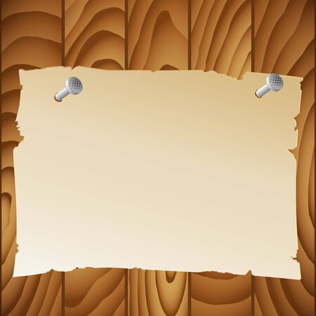 A sheet of paper on a wooden wall. Vector illustration.