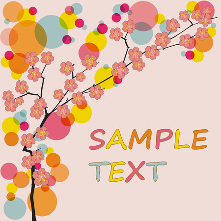 Spring vector background with sakura flowers. Colorful illustration.