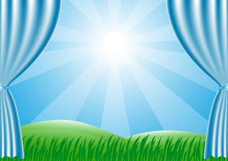to shine: Spring is coming. Green grass and sun shine. Vector background. Illustration
