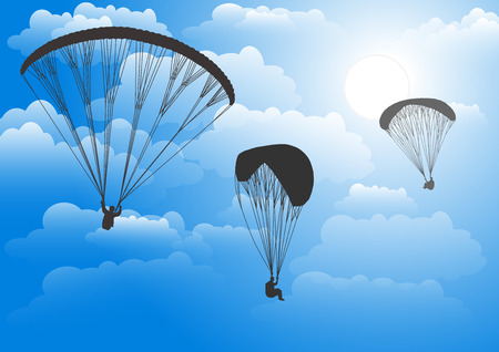 paraglider: Paraglider in the sky against clouds. Vector illustration.